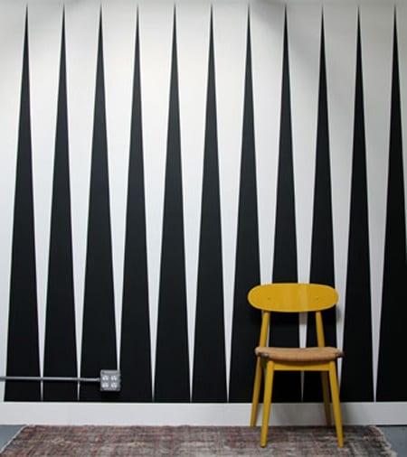 kreative Wandgestaltungsidee in weiß und schwarz