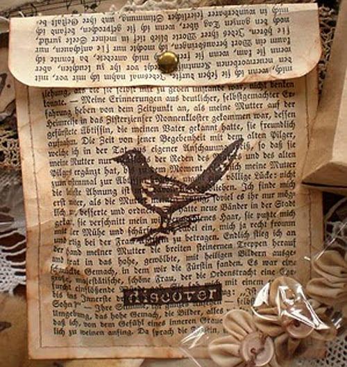 kreative Gutschentasche aus Zeitung-selbstgemachte Gutscheinideen