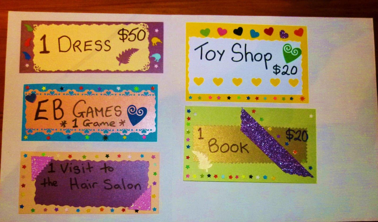 selbstgemachte gutscheine-Geschenkgutscheine für Kinder