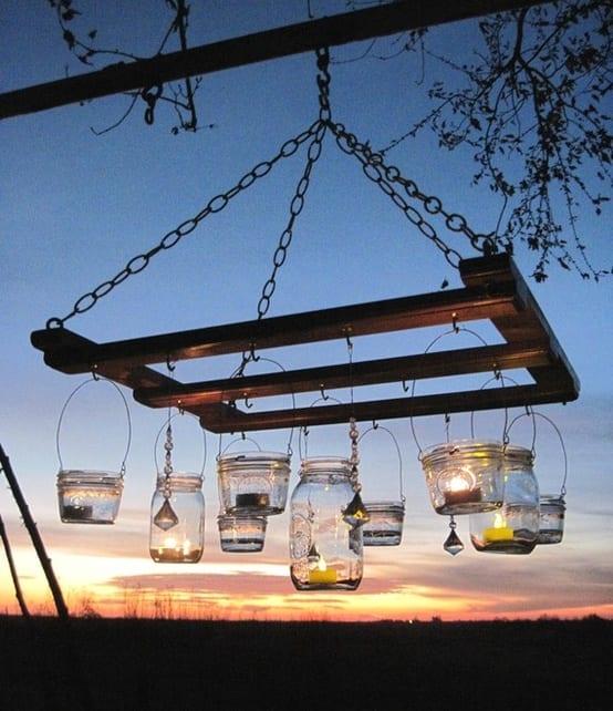 Möbel aus palleten - Gartenleuchte mit Glas-Teeleuchthaltern