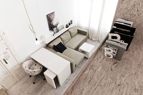 kleines apartment einrichten-schlafzimmer auf zweite Niveau