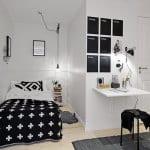 kreative einrichtung kleines schlafyimmers mit bettnische-schwarze bettdecke