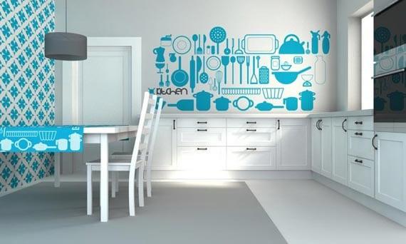 interessante Farbgestaltung in blau für die Küche