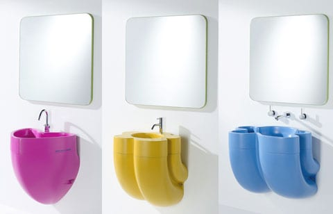 farbige kondermöbel fürs bad- kinderwaschbecken