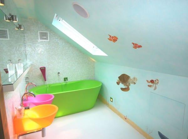 farbige kinderwaschbecken idee- badezimmer für kinder einrichten
