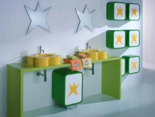 grüner kinder waschtisch fürs badezimmer-sternförmige spiegel