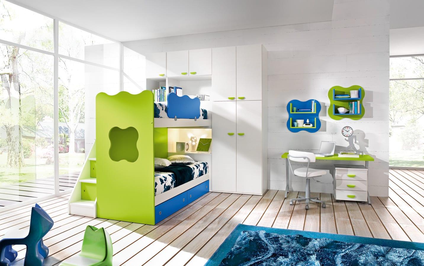 kinderzimmer möbel in grün und blau