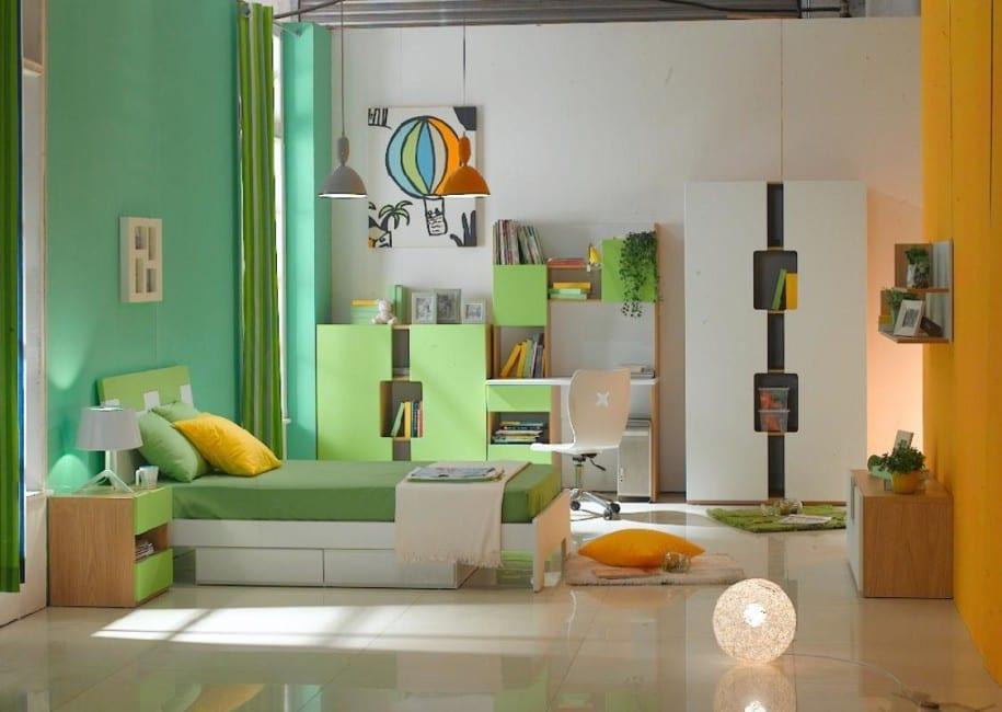 kreative kinderzimmer gestaltung in grün und orange
