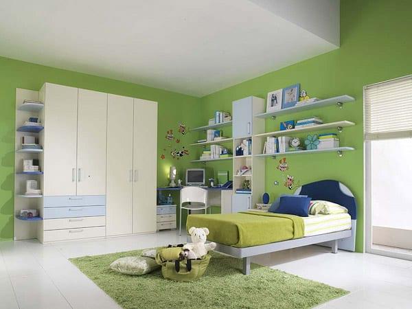Kinderzimmer streichen- grüne wand streichidee