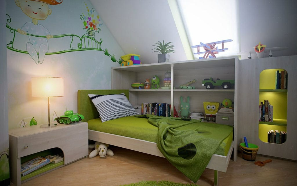 kinderzimmer gr n jungenzimmer idee freshouse. Black Bedroom Furniture Sets. Home Design Ideas