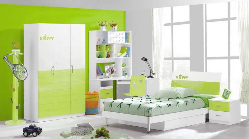 Kinder-kleiderschrank in weiß und grün