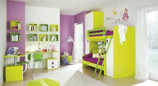 lila und grün im kinderzimmer- kinder etagenbett