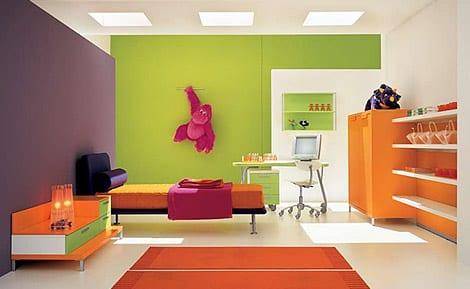 farbenfrohe kinderzimmer gestaltung in vier farben