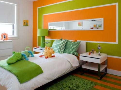 kinderzimmer streichen in grün und orange- länglicher Wandspiegel