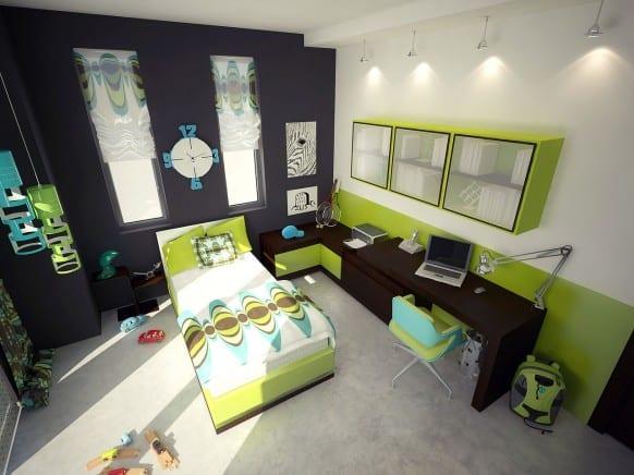 moderne kinderzimmer einrichtung in grün und schwarz mit holzschreibtisch