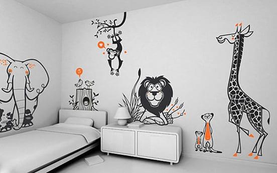 Kinderzimmer Wandgestaltung Kinderzimmmer Einrichtung In Weiss Mit Kreative  Streich Idee