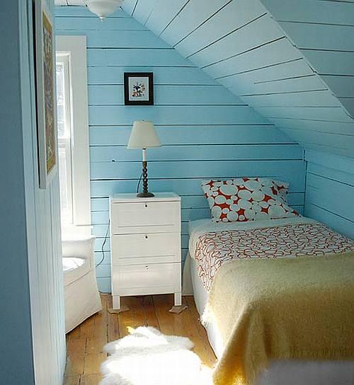 frische Gestaltungsidee für kleines Schlafzimmer am dach