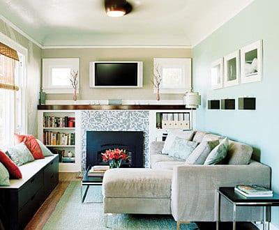 kleines wohnzimmer einrichten-schwarze kommode als sitzfläche mit ...