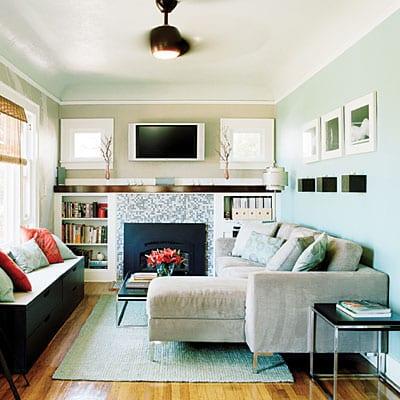quadratische wandleichten wandgestaltung mit kamin holzboden wand tv stand - Kleines Wohnzimmer Einrichten