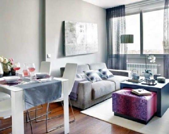 gestaltung wohnzimmer mit esstisch und sofa-couchtisch mit hocker