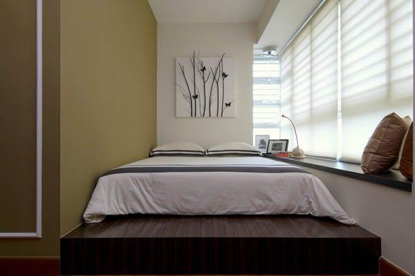 Schlafbereich mit Podest - modernes schlafzimmer mit fensterbank als stellfläche