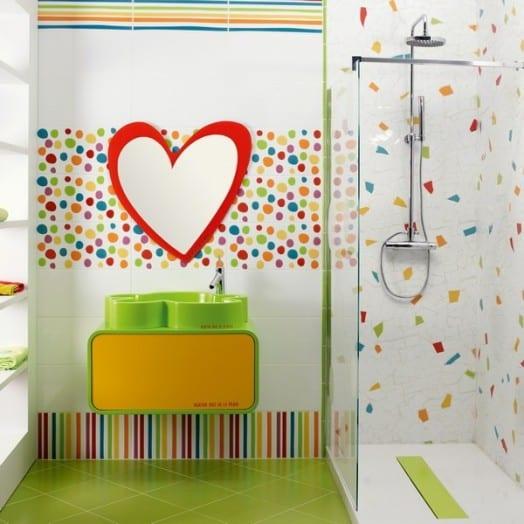 badezimmer mosaik-herzfärmiges spiegel-badezimmer kindermöbel
