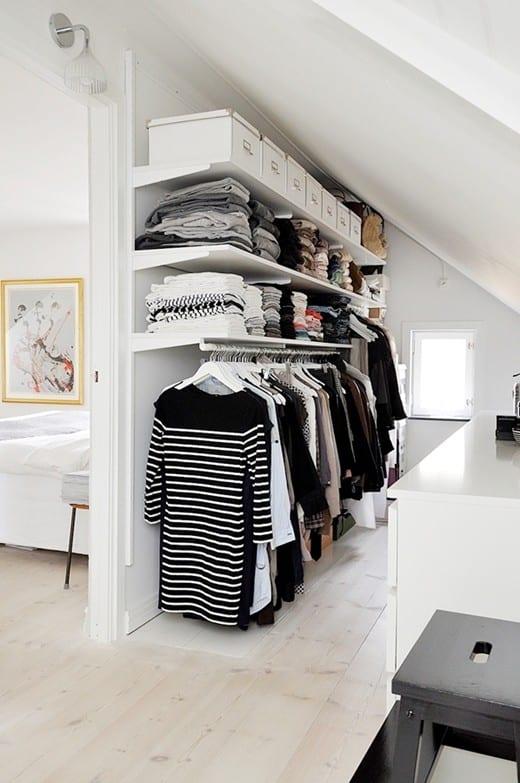 einrichtungsidee für kleines ankleidezimmer im dachraum