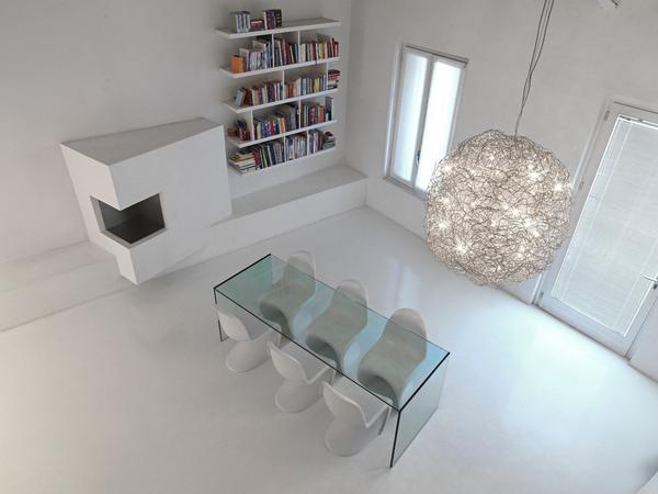 Loft-Wohnung_glastisch mit weißen Designerstühlen-minimalistischer kamin-weiße wand-Bücherregale
