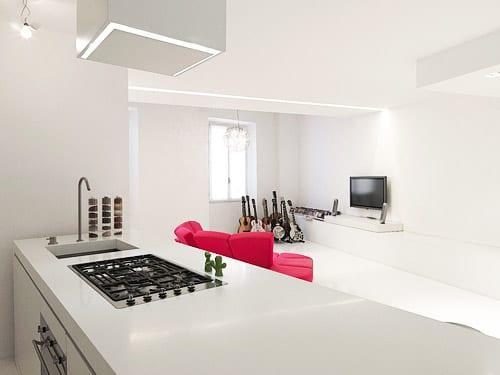 moderne weiße Küche einrichtungsidee mit kochinsel