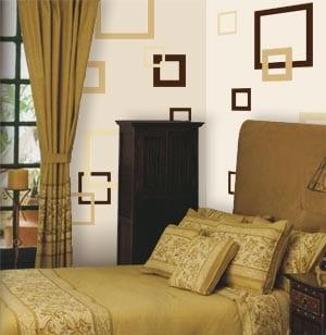 Einfache Wandgestaltung Mit Quadraten Fürs Schlafzimmer