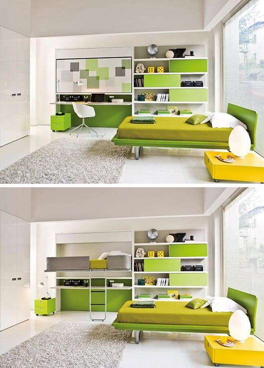 kinderzimmer in weiß mit klappbarem Bett- grünes bett und gelber nachttisch