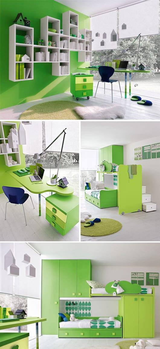 einrichtungsidee mit grünen möbel für kinder