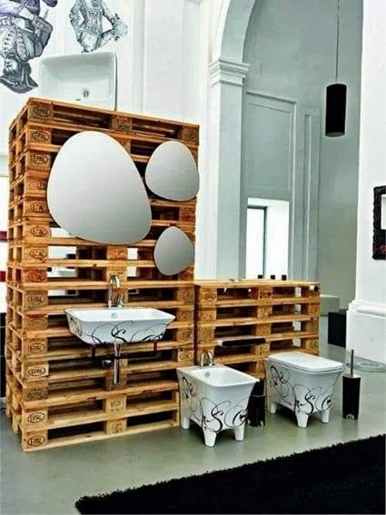 Badezimmer-Einrichtungsidee aus Paletten