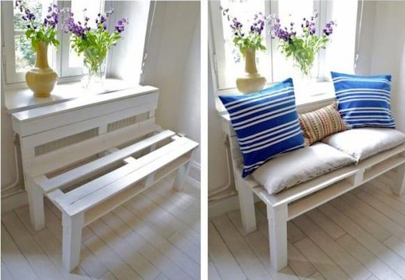 DIY weiße bank aus paletten