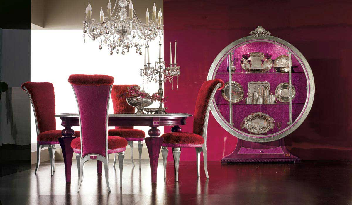 moderne Eszimmer Einrichtung in pink