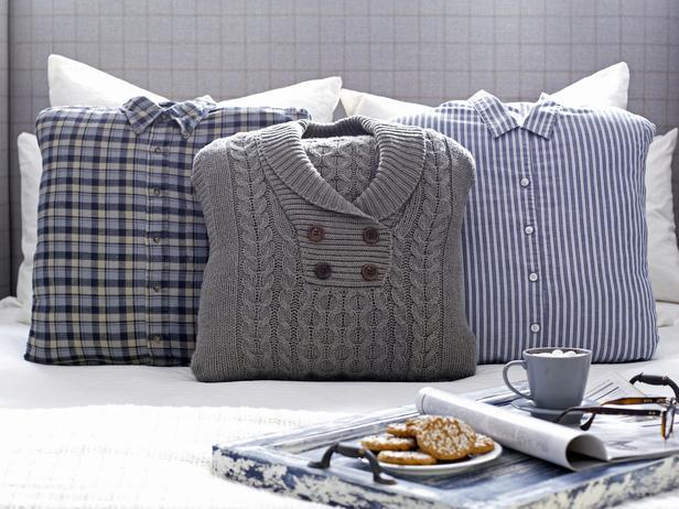 moderne Wohnideen- kreative Kissen aus alten Pulovern und Hemden