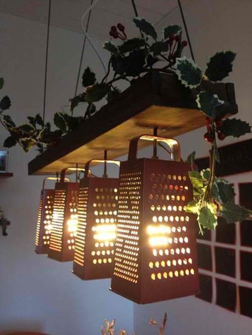 kreative Wohnidee für selbstgemachte lampe aus Reibeisen