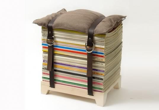 kreative Wohnideen- hocker aus alten zeitschriften
