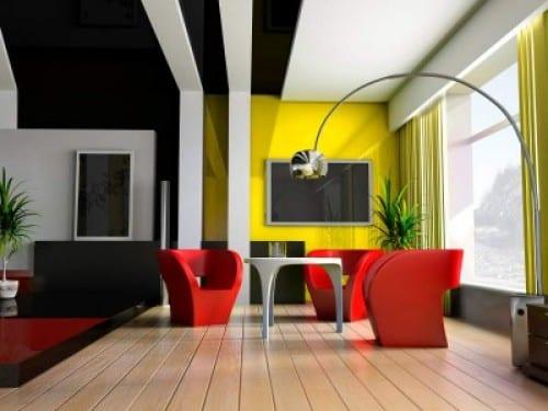 Wohnzimmer einrichtung in schwarz und weiß mit möbel in rot
