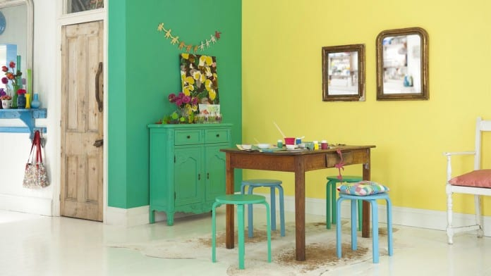 interessante Küchegestaltungsidee in gelb und grün