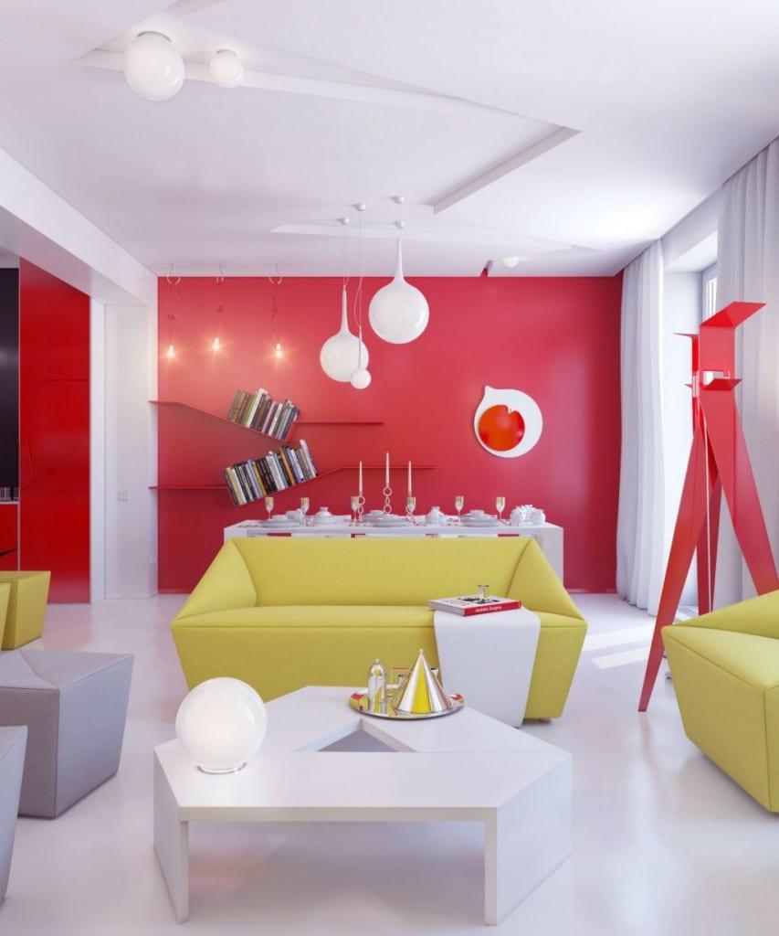 rote wand-grünes sofa-weißer kaffeetisch