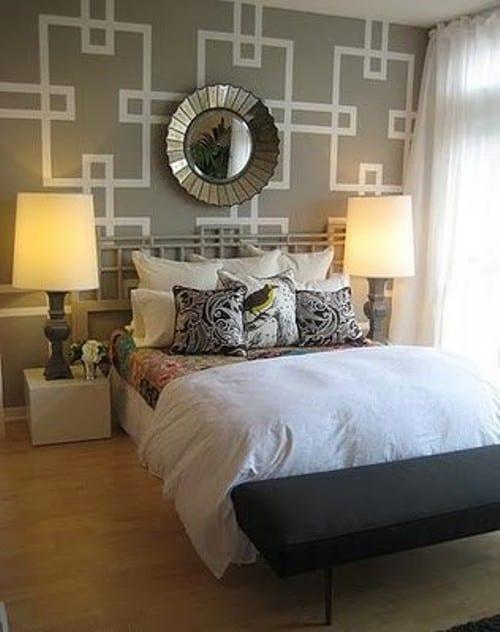 kreative Schlafzimmer Wandgestaltung in grau und silber