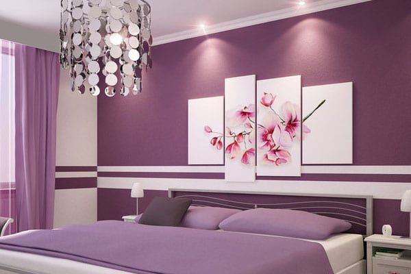 Schlafzimmmer wandstreichideen in lila freshouse - Beautiful bed room wall color ...