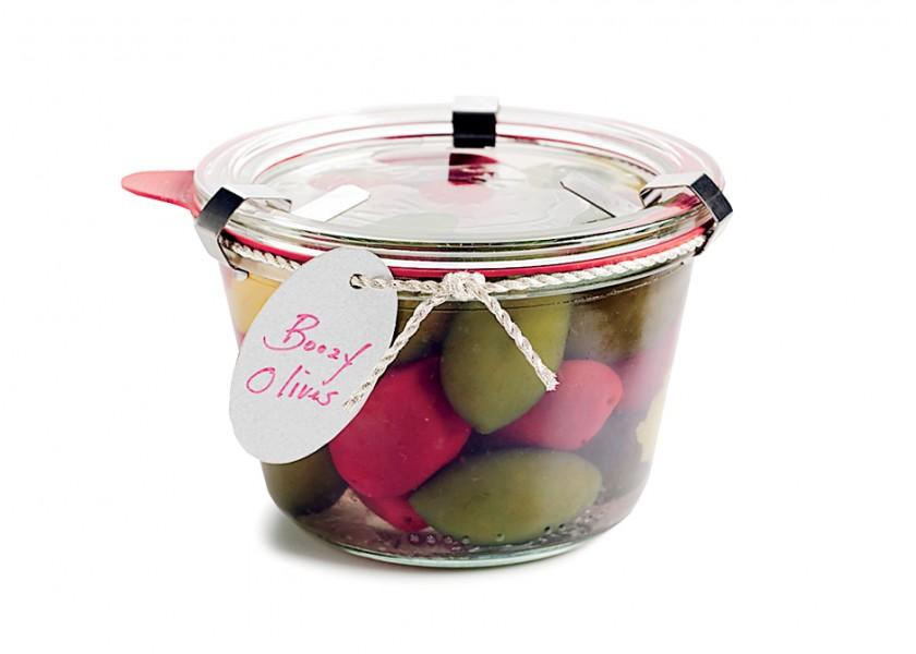 geschenkidee aus der küche- oliven mit alkochol