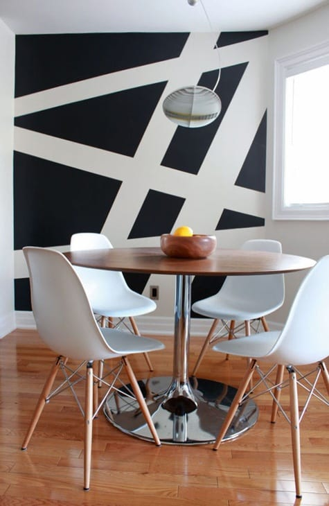 Wandgestaltung in schwarz und weiß für die Küche