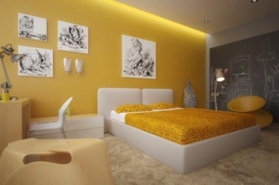 Interessante Schlafzimmer Einrichtumg in gelb