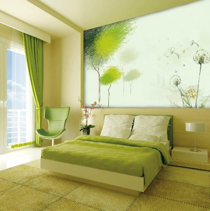 frische Wandgestaltung in grün für Schlafzimmer