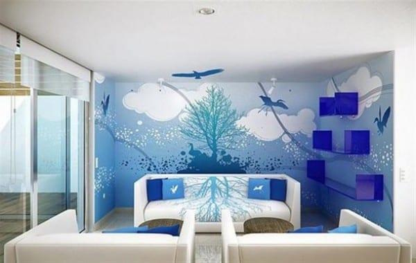 kreative Wand streichen ideen fürs Wohnzimmer