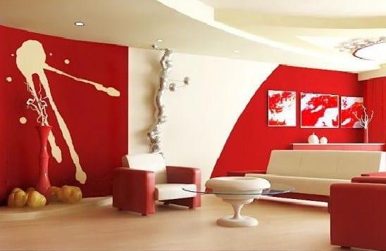 Rot im Wohnzimmer- mutige Wandgestaltungsidee
