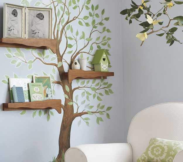 kreative idee für Wandgestaltung im Wohnzimmer